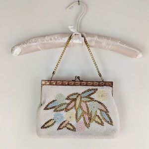 Vintage beaded purse, white beaded purse, floral